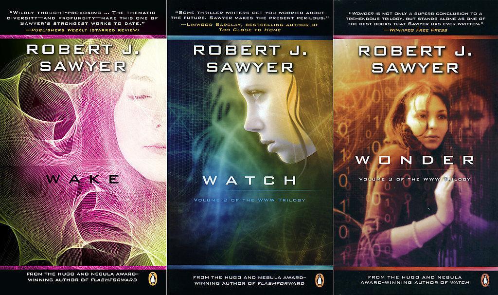 Trilogie Singularité de R J. Sawyer - couverture US - image boutique Ebay de R. J Sawyer mai 2016